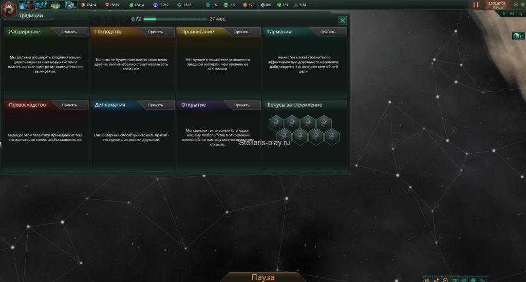 Традиции и бонусы за стремления в stellaris