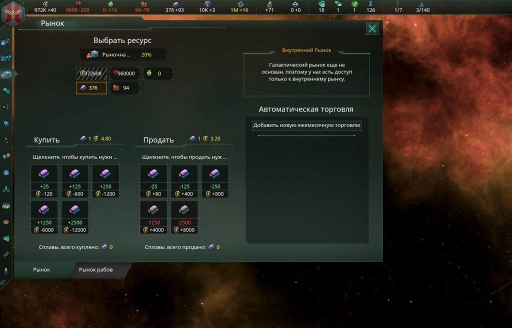 Торговля Stellaris